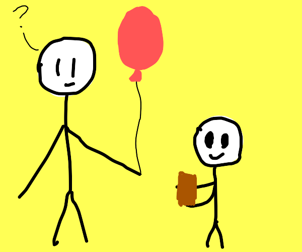 Man with balloon asks for chocolate from kid