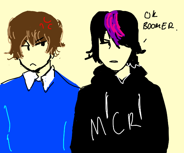 emo boy says OK BOOMER to boy and the boy mad