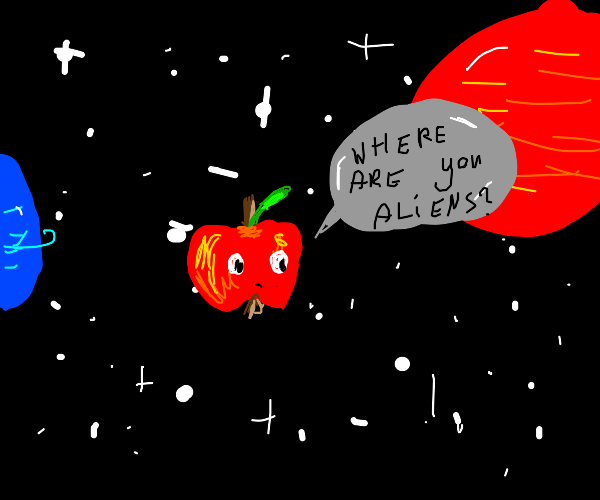 apple flying in space searching for aliens
