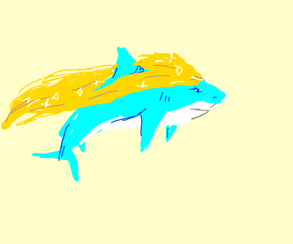 shark with flowing blonde hair