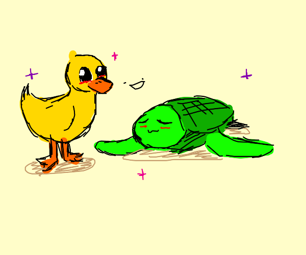 cute duck and turtle