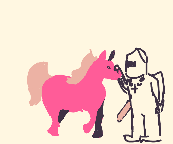 A knight with a pink horse