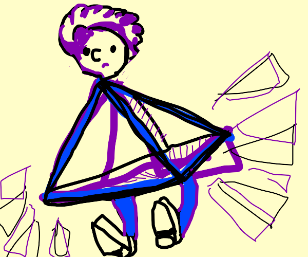 Man has a triangular prism for a body