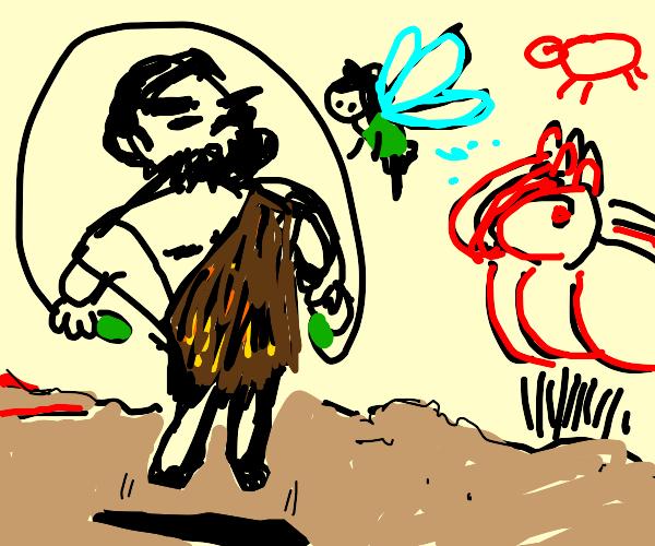 Fairy and hot caveman dude play jump rope