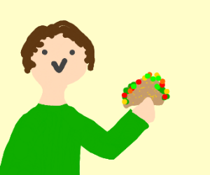 A person holding a taco