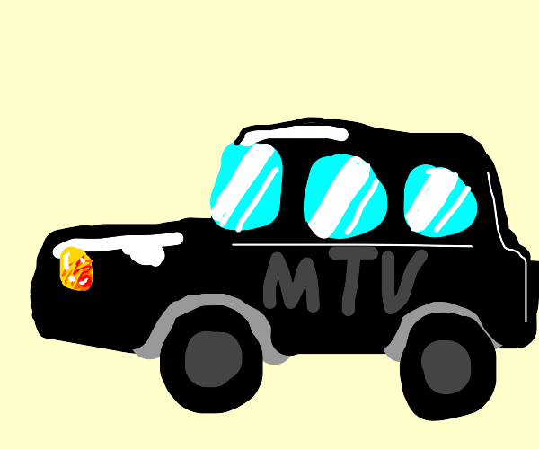 Black car with MTV written on it