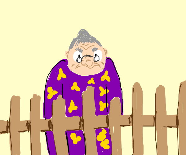 A cranky old lady with a in her fenced