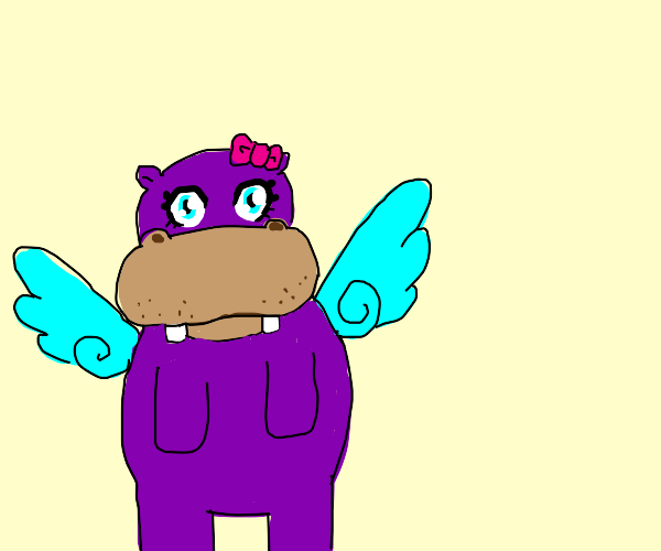 cute flying hippo with wings