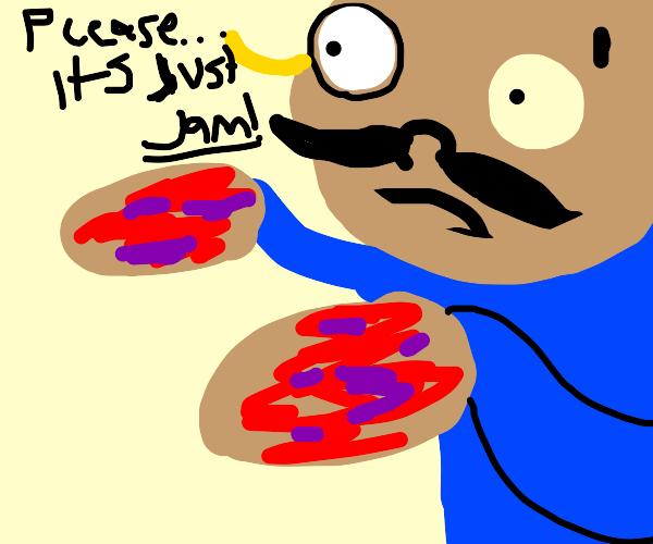 Monocle man has jam om his hands