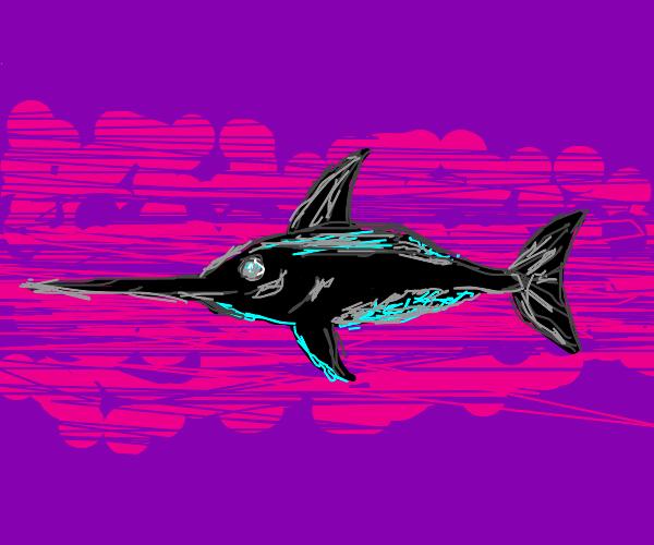 black, neon teal, and gray sword fish