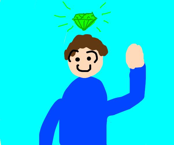 guy w/ green diamond above his head waving
