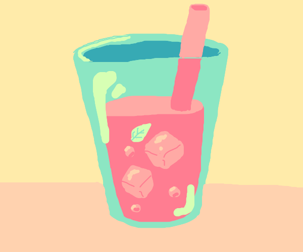 Pink drink with a leaf in it and leaky straw