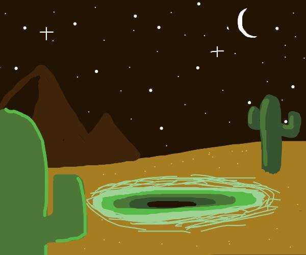 Night; a portal opens above desert mountains.