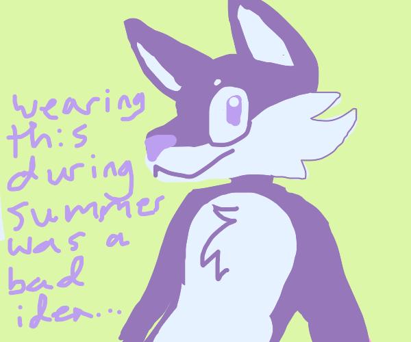 a mascot in a purple suit, its hot inside