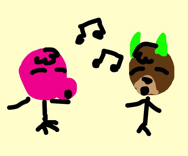 Pashimina and Marina singing (animal crossing
