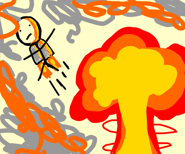 Man With Jetpack Escaping Nuclear Explosion