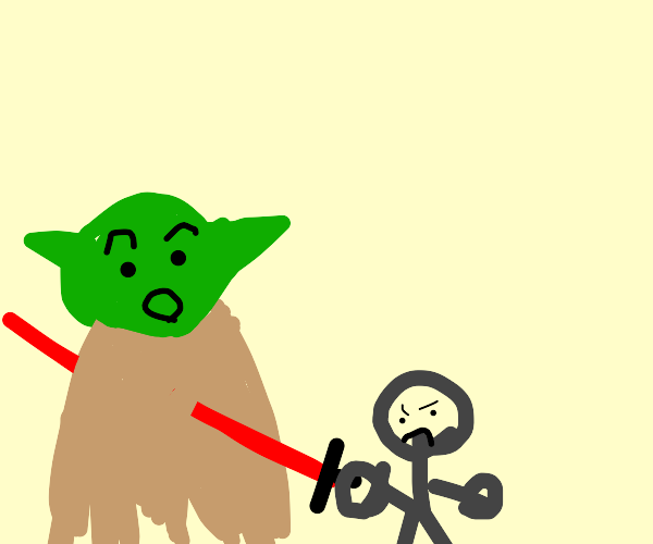 yoda is stabbed by tiny man