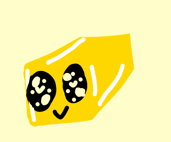 Cute piece of butter with glistening eyes