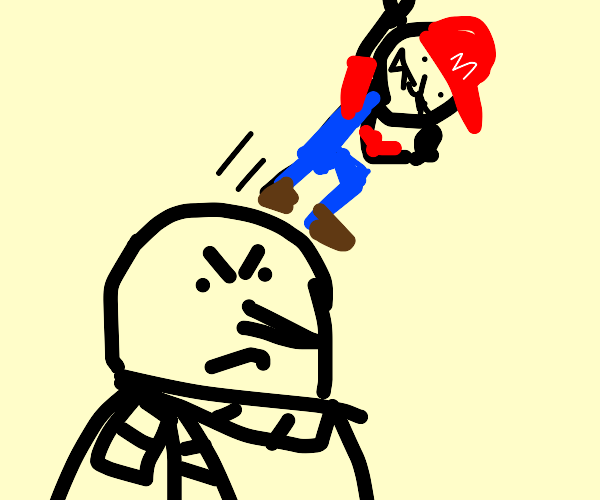 Mario jumps off Gru's bald head