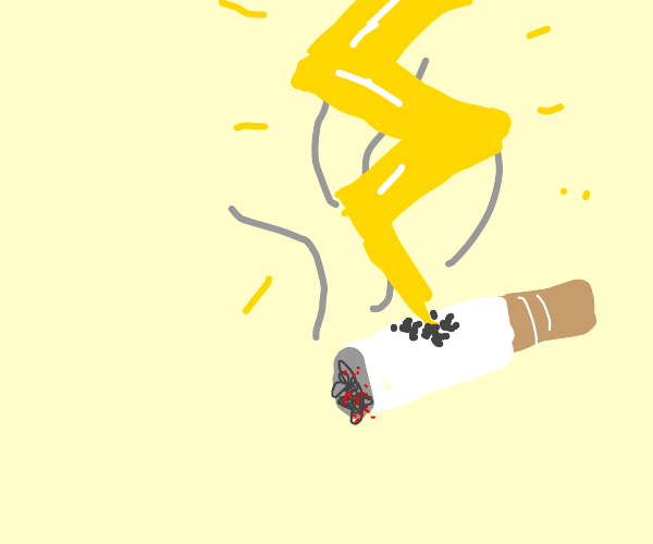 cigerette gets struck by lightning
