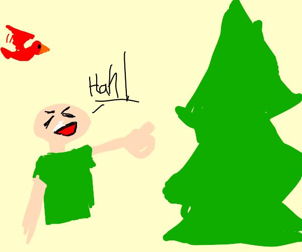 Kid on crack bullies a tree, whilst bird sees
