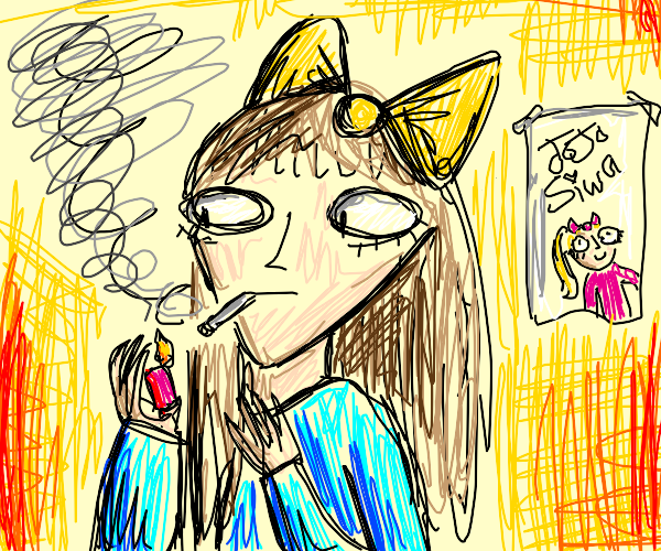 Girl with cigarette and yellow bow