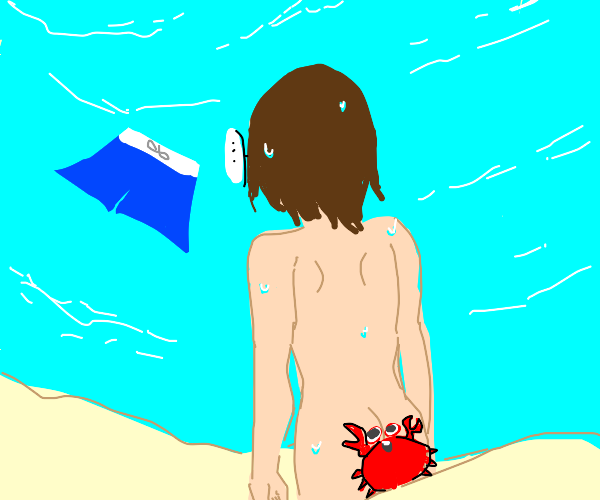 naked man with crab