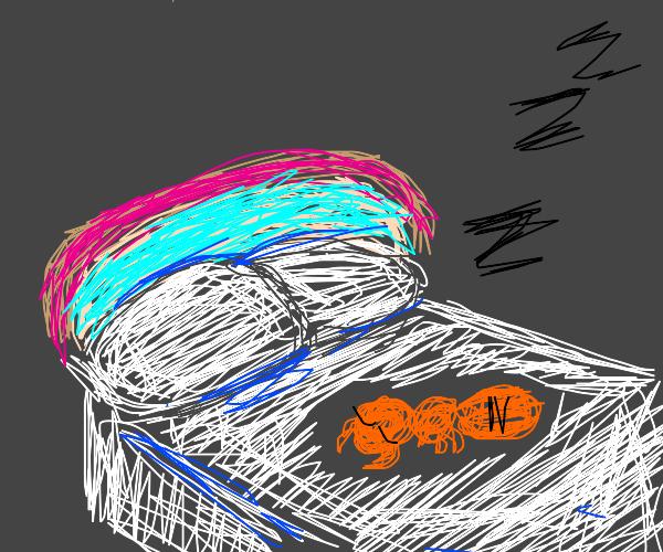 ant sleeping on fancy bed