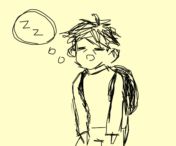 Tired boy think about sleeping