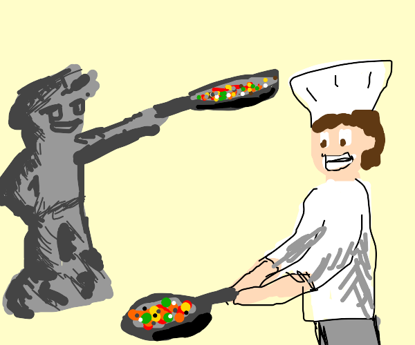 Cooking with a Statue