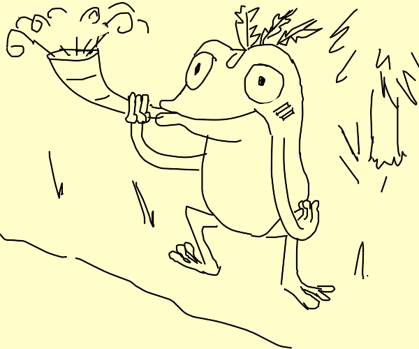 frog mutant blowing a horn