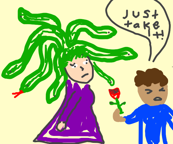 Medusa accepts a rose