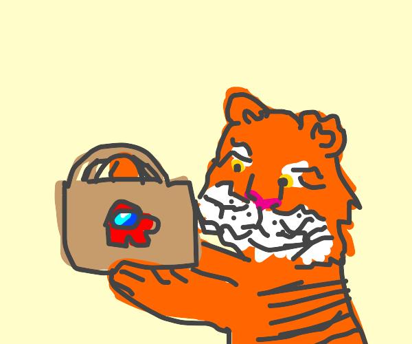 tiger holds an among us basket