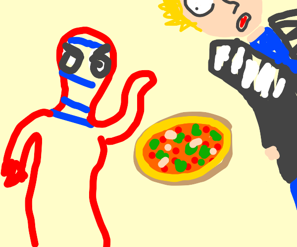 Spiderman throws pizza at his boss