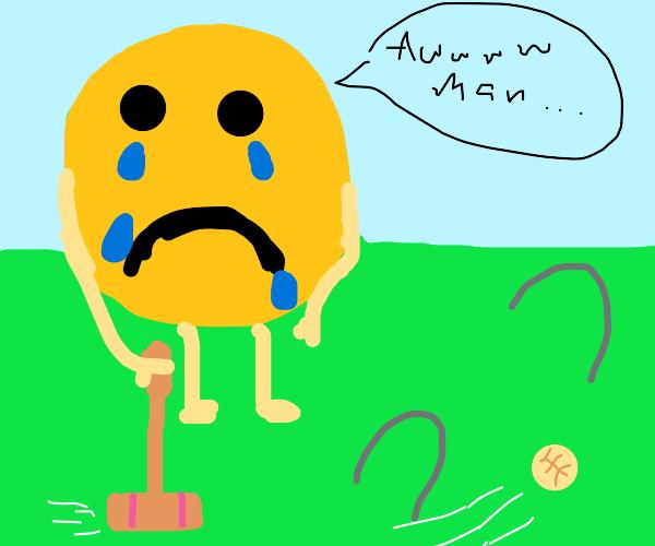 yellow circle man losing in croquet