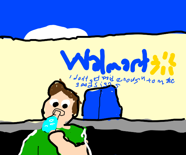 Kid drinking a Potion outside of Walmart