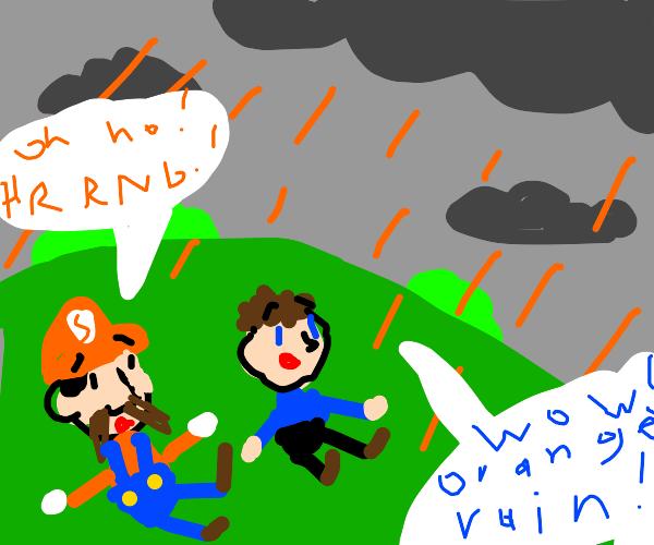 Orange rain drop
