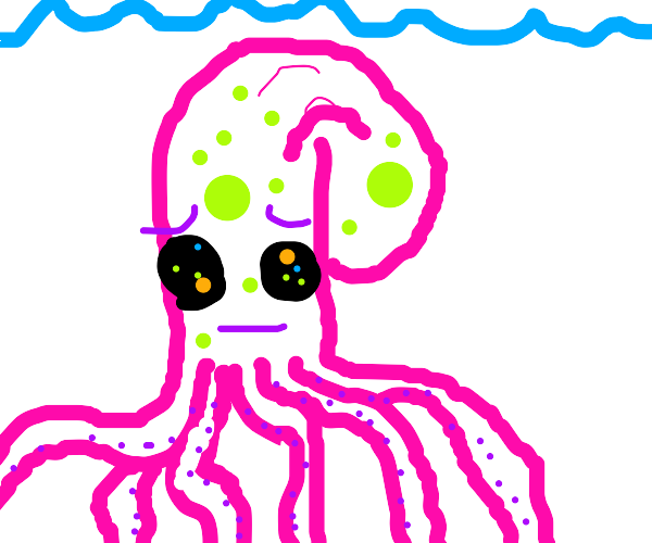 Octopus with disease and LSD eyes