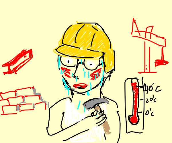 man in hardhat and glasses thinks its hot