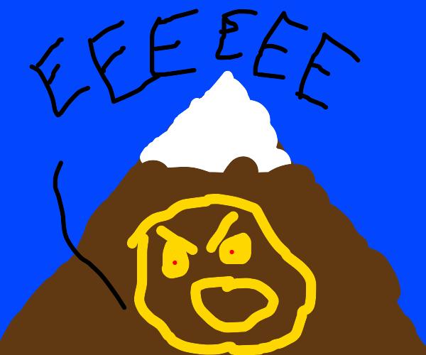 Man mad at mountain