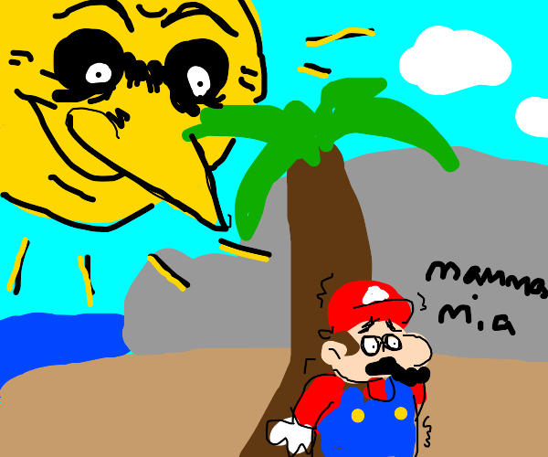Mario hides from the very scary sun