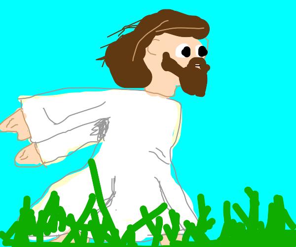 Jesus Christ anime running