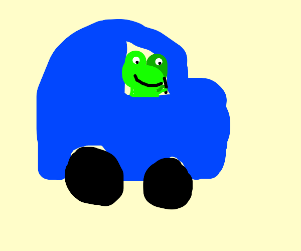 Frog driving a car