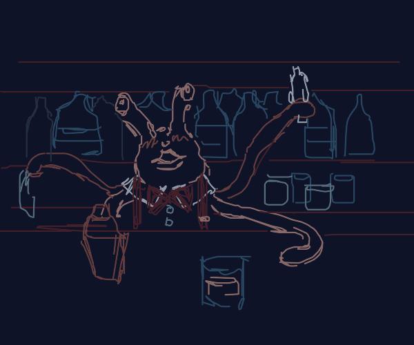 alien bartender with duck face