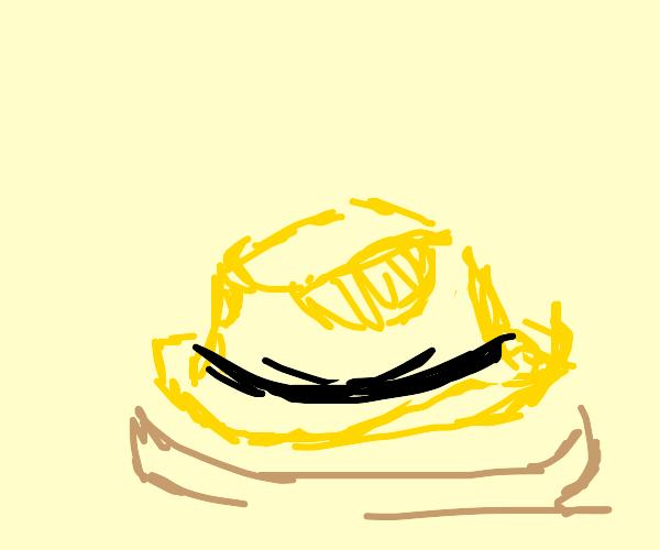 Pancake with a yellow cowboy hat