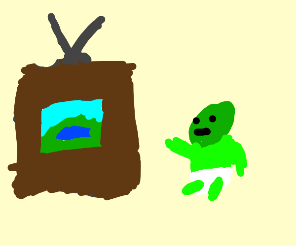 Green Baby Points At Pond On TV