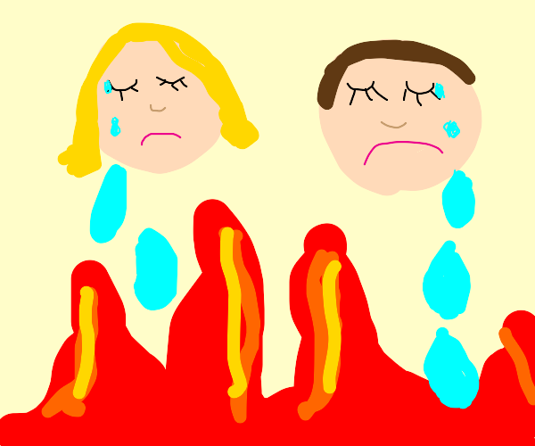 Drying fire with tears