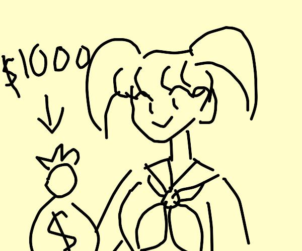 Anime girl offers 1000 :D's