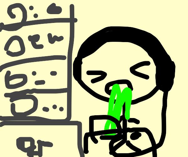 Livestreamer Vomiting
