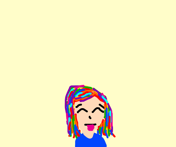 Person with rainbow hair sticking tongue out